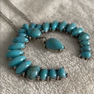 Turquoise long statement necklace